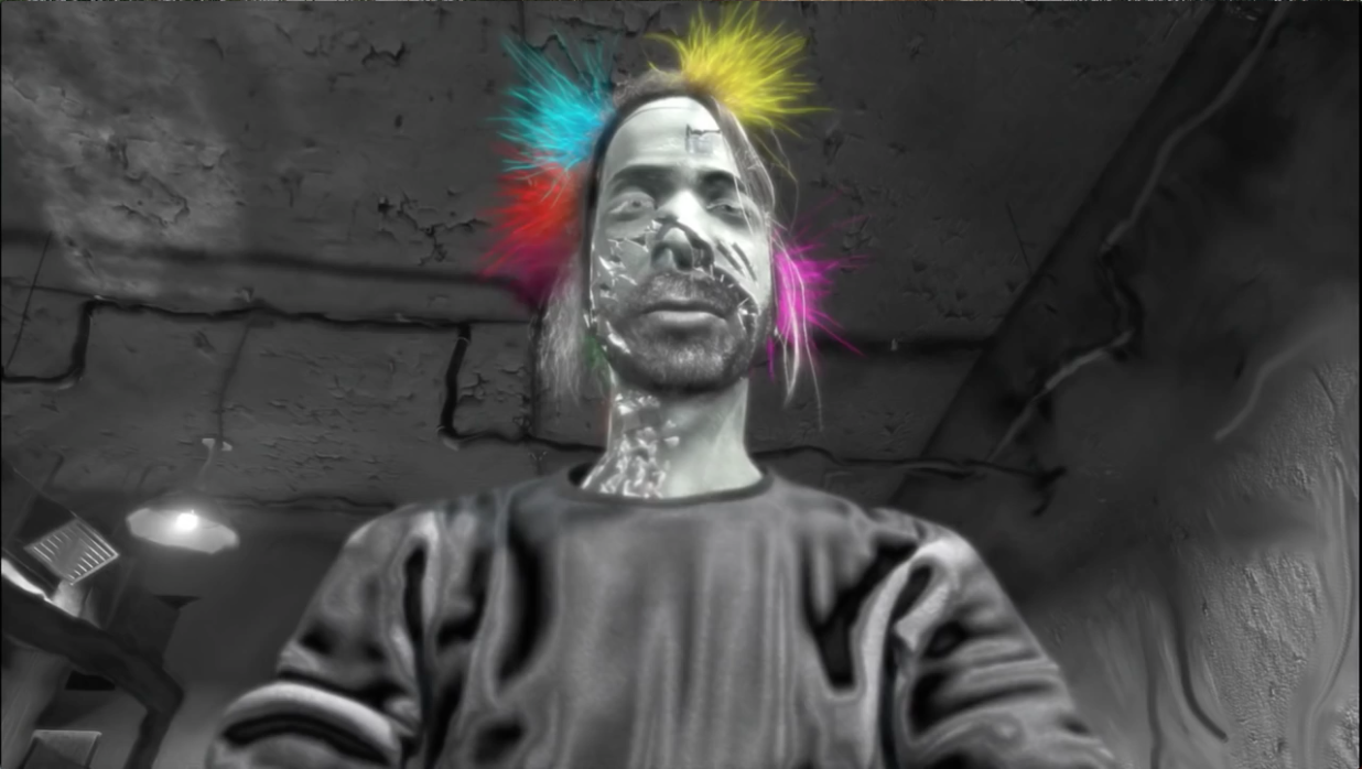 Fig. 6-8: Fig. 4: Stills from RYAN (Chris Landreth, CAN 2004), Min. 1.2. Multi-coloured strings appear and wrap around Landreth's head as he describes how he took on a dread of personal failure.