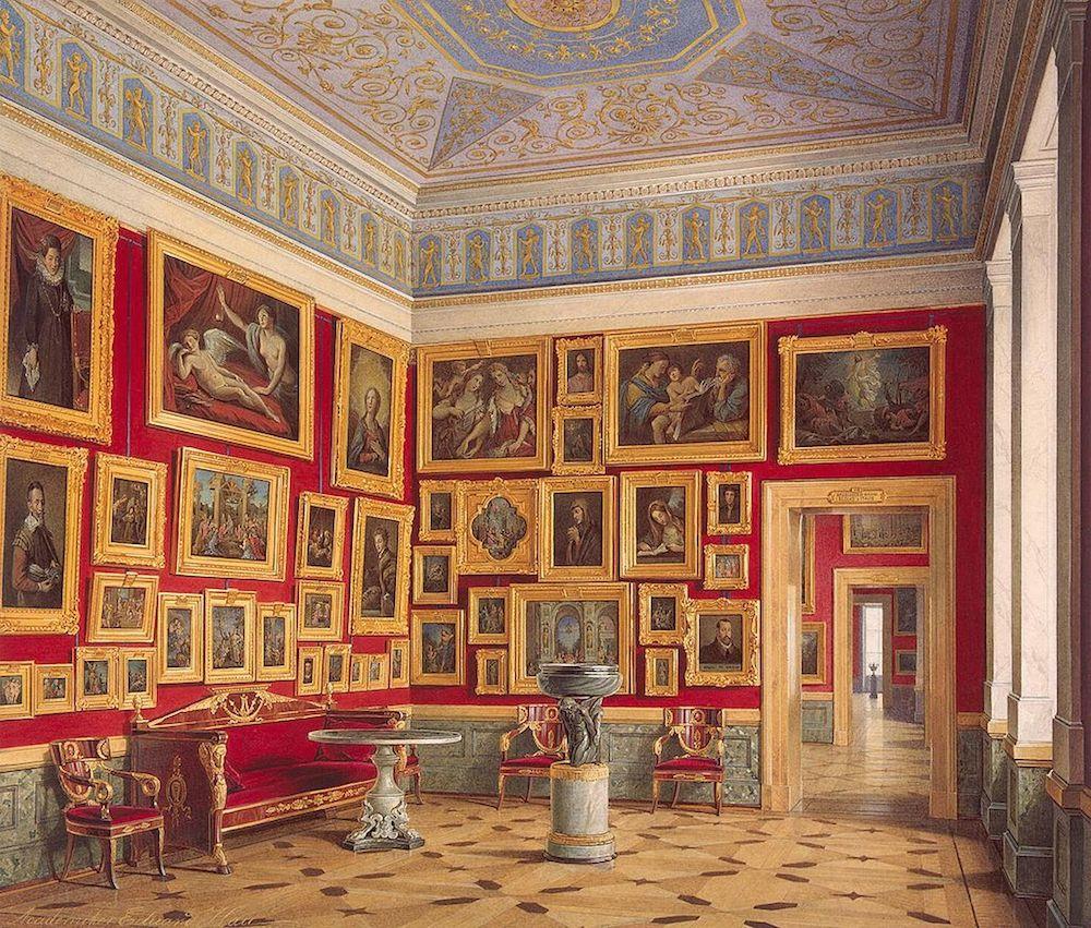 "Fig. 5: ""Picture gallery in the St. Petersburg Eremitage"" (Eduard Hau, 1860)"