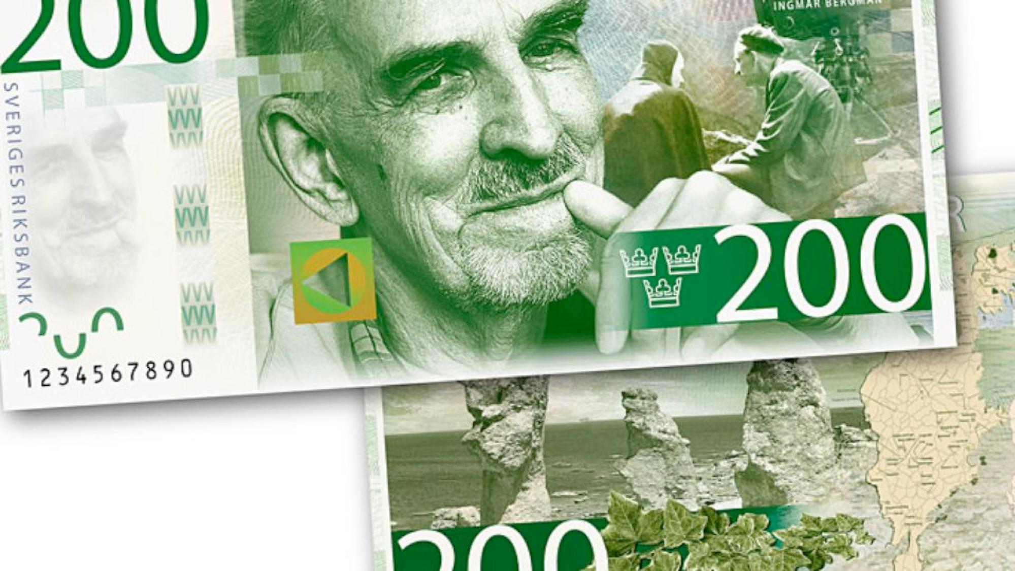 Fig. 5: Ingmar Bergmann auf Schwedens neuem 200-Kronen-Schein (ab 2015)