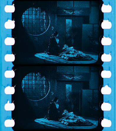 Figure 20: Cookie lighting. THE DRAGON PAINTER (William Worthington, USA 1919). Credit: George Eastman Museum. Photographs of the tinted and toned safety print by Olivia Kristina Stutz, ERC Advanced Grant FilmColors.