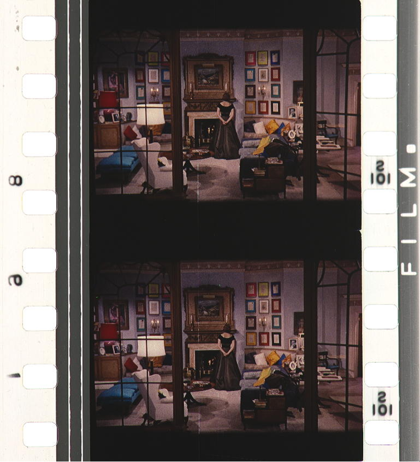 Figure 9: Visual complexity with grid in the foreground and colored distractors in the background. INDISCREET (Stanley Donen, GB / USA 1957). Credit: BFI National Film Archive. Photograph of the Technicolor V dye-transfer safety print by Joëlle Kost, ERC Advanced Grant FilmColors.