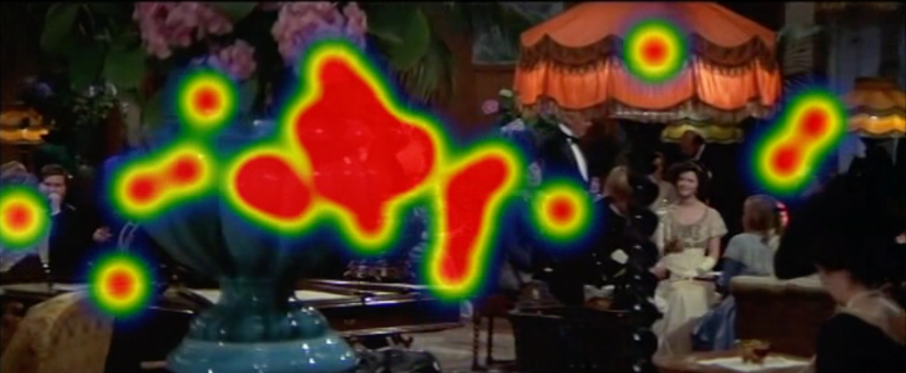 Figure 11: Eye tracking study conducted by Miriam Loertscher and Bregt Lameris within ERC Advanced Grant FilmColors. The heatmap confirms the split attention, caused by the colorful objects in the foreground.
