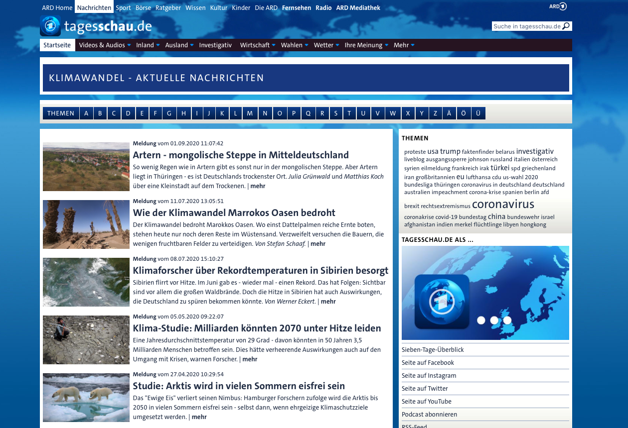 """Abb. 26: Screenshot der Themenseite """"Klimawandel"""" der ARD-Tagesschau am 9.9.2020"""