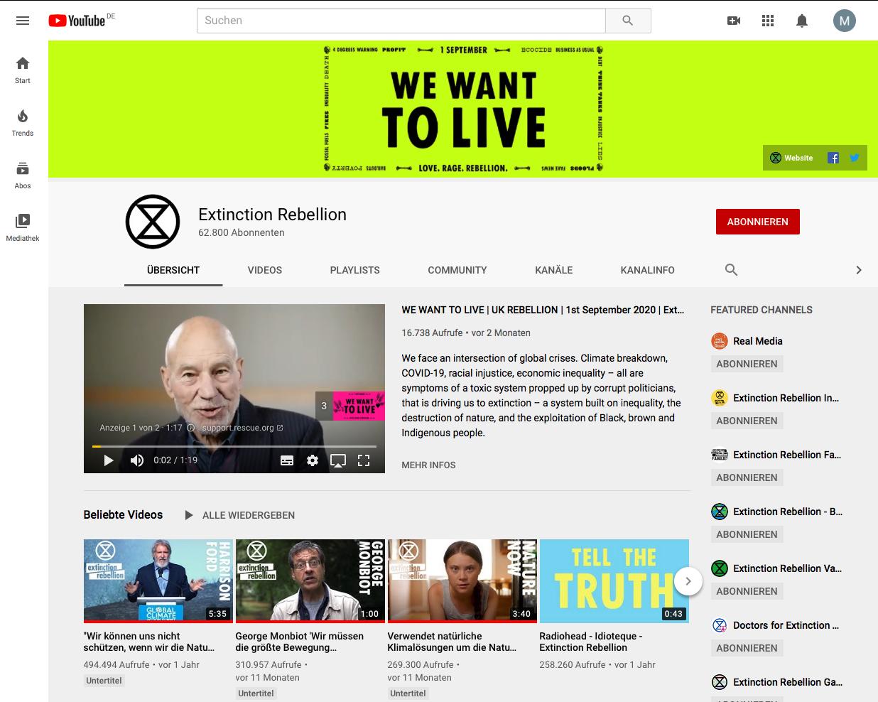 Abb. 28: Screenshot des Youtube-Kanals der Extinction Rebellion am 9.9.2020
